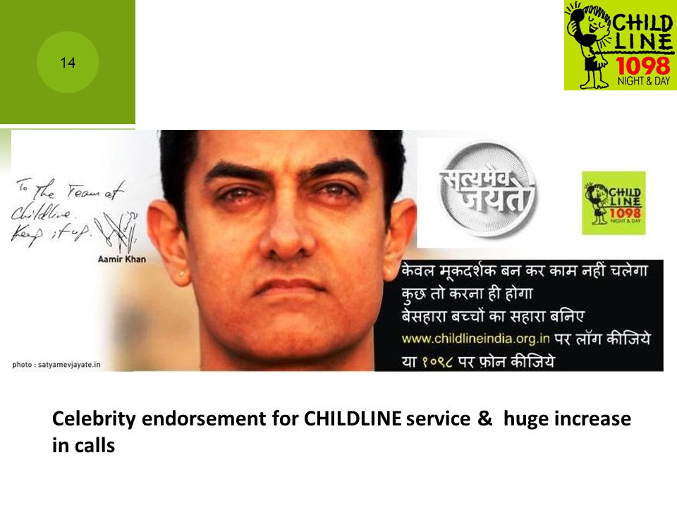 14 Celebrity endorsement for CHILDLINE service & huge increase in calls