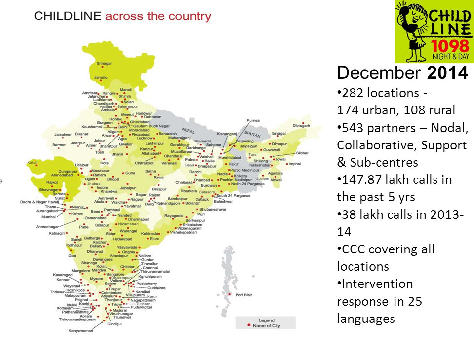 7 December 2014 282 locations - 174 urban, 108 rural 543 partners – Nodal, Collaborative, Support & Sub-centres 147.87 lakh calls in the past 5 yrs 38