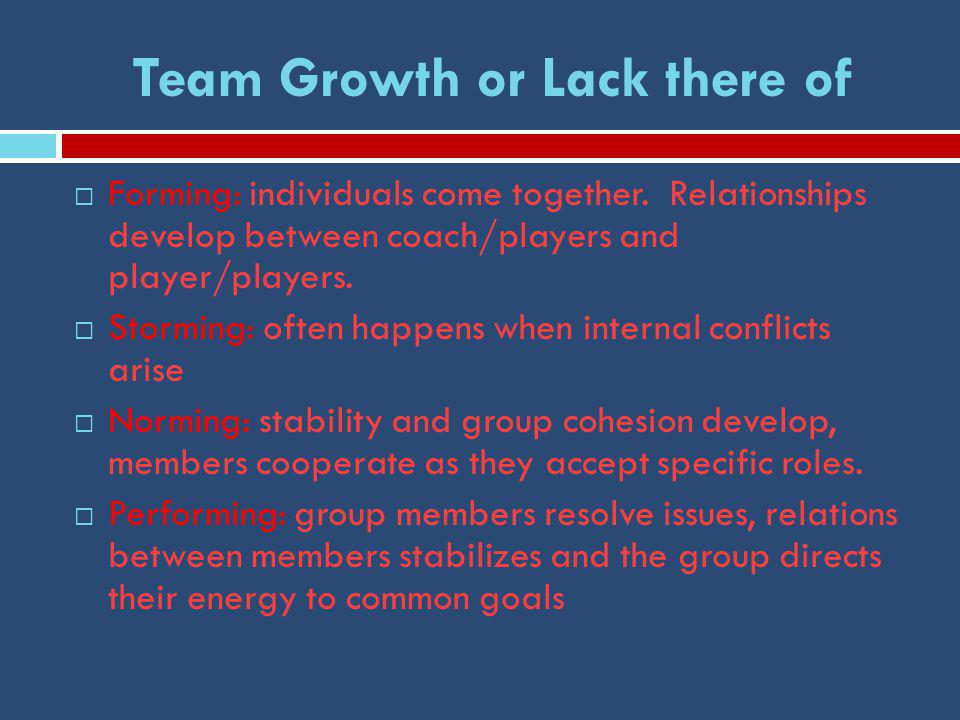 Team Growth or Lack there of  Forming: individuals come together.