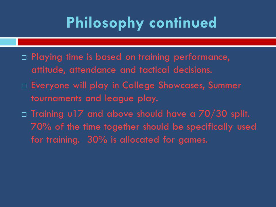 Philosophy continued  Playing time is based on training performance, attitude, attendance and tactical decisions.