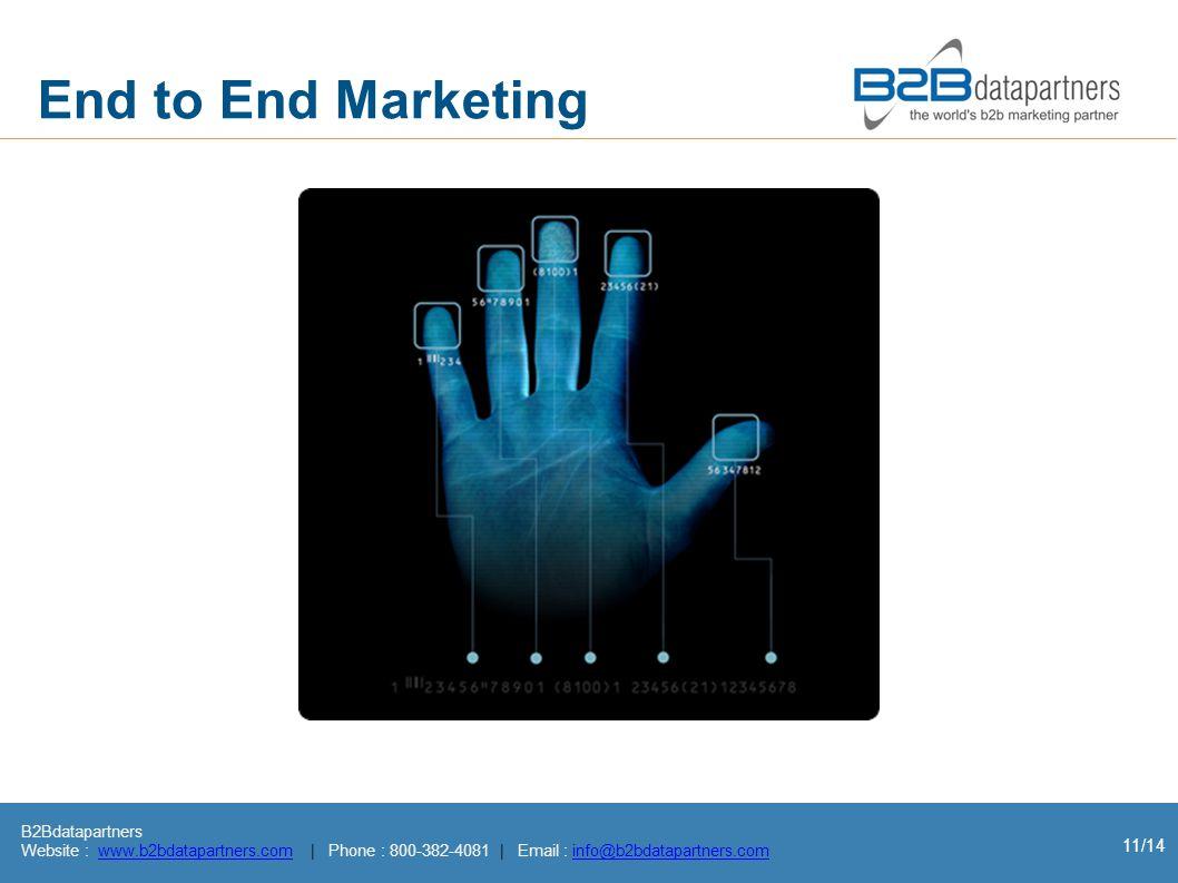 B2Bdatapartners Website : www.b2bdatapartners.com | Phone : 800-382-4081 | Email : info@b2bdatapartners.comwww.b2bdatapartners.cominfo@b2bdatapartners.com 11/14 End to End Marketing
