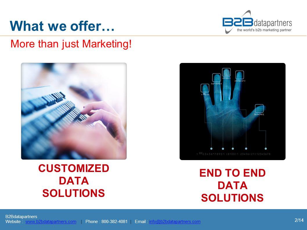 B2Bdatapartners Website : www.b2bdatapartners.com | Phone : 800-382-4081 | Email : info@b2bdatapartners.comwww.b2bdatapartners.cominfo@b2bdatapartners.com 2/14 What we offer… More than just Marketing.