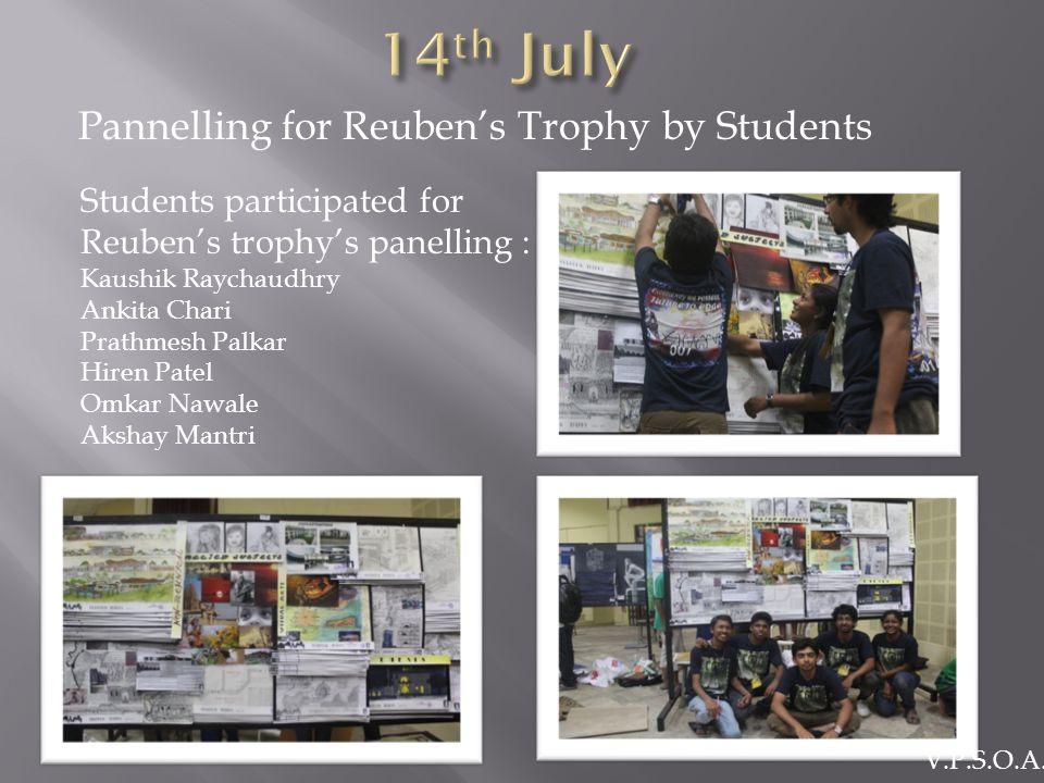 Pannelling for Reuben's Trophy by Students Students participated for Reuben's trophy's panelling : Kaushik Raychaudhry Ankita Chari Prathmesh Palkar Hiren Patel Omkar Nawale Akshay Mantri V.P.S.O.A.