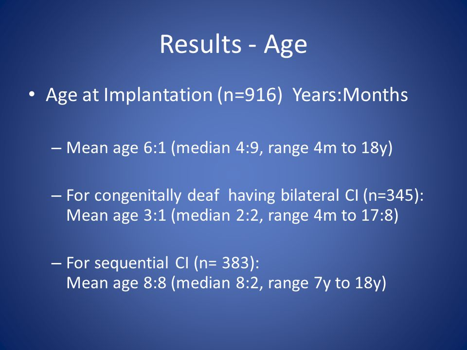 Results - Age Age at Implantation (n=916) Years:Months – Mean age 6:1 (median 4:9, range 4m to 18y) – For congenitally deaf having bilateral CI (n=345): Mean age 3:1 (median 2:2, range 4m to 17:8) – For sequential CI (n= 383): Mean age 8:8 (median 8:2, range 7y to 18y)