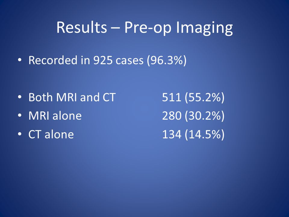 Results – Pre-op Imaging Recorded in 925 cases (96.3%) Both MRI and CT 511 (55.2%) MRI alone280 (30.2%) CT alone 134 (14.5%)