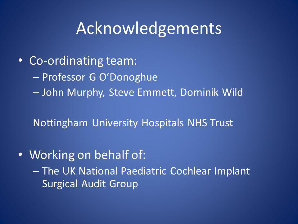 Acknowledgements Co-ordinating team: – Professor G O'Donoghue – John Murphy, Steve Emmett, Dominik Wild Nottingham University Hospitals NHS Trust Working on behalf of: – The UK National Paediatric Cochlear Implant Surgical Audit Group