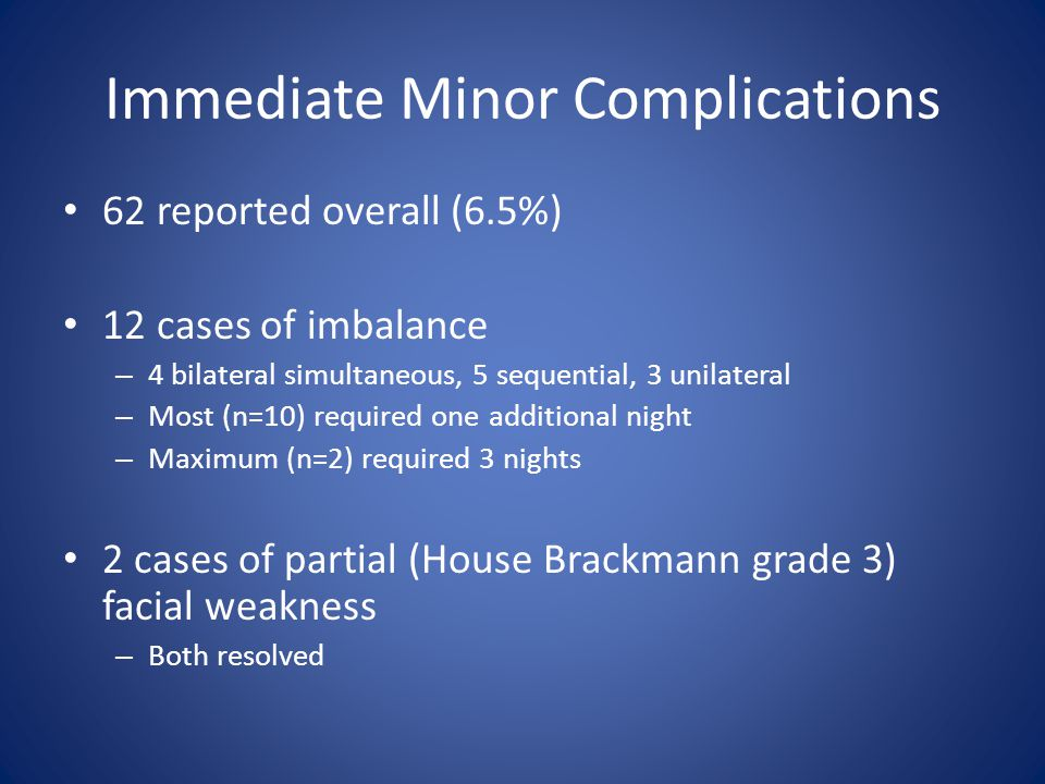 Immediate Minor Complications 62 reported overall (6.5%) 12 cases of imbalance – 4 bilateral simultaneous, 5 sequential, 3 unilateral – Most (n=10) required one additional night – Maximum (n=2) required 3 nights 2 cases of partial (House Brackmann grade 3) facial weakness – Both resolved