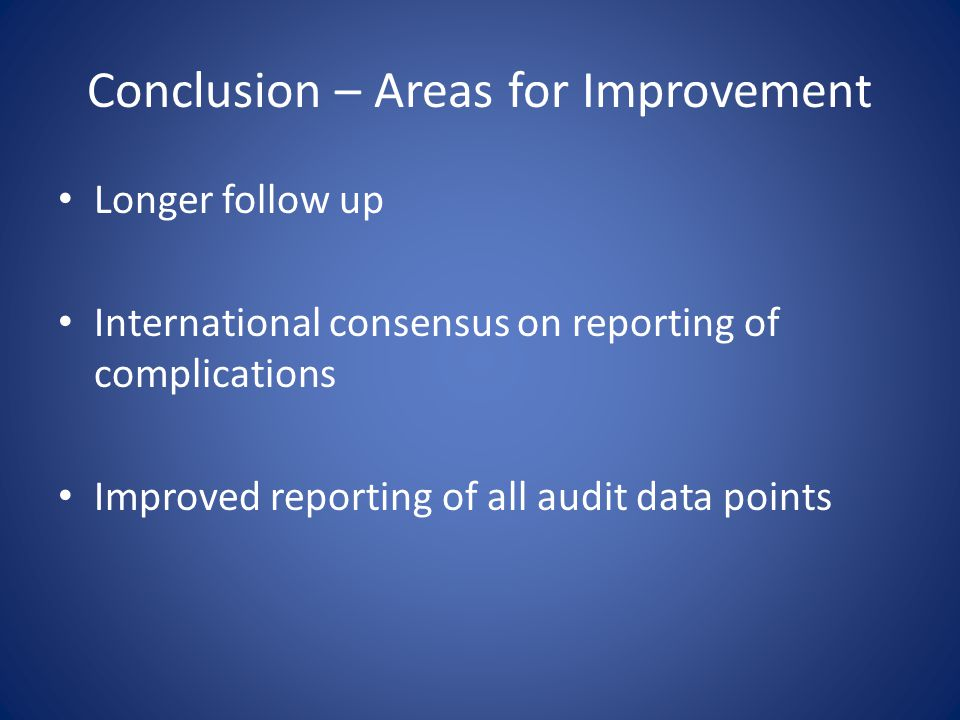 Conclusion – Areas for Improvement Longer follow up International consensus on reporting of complications Improved reporting of all audit data points