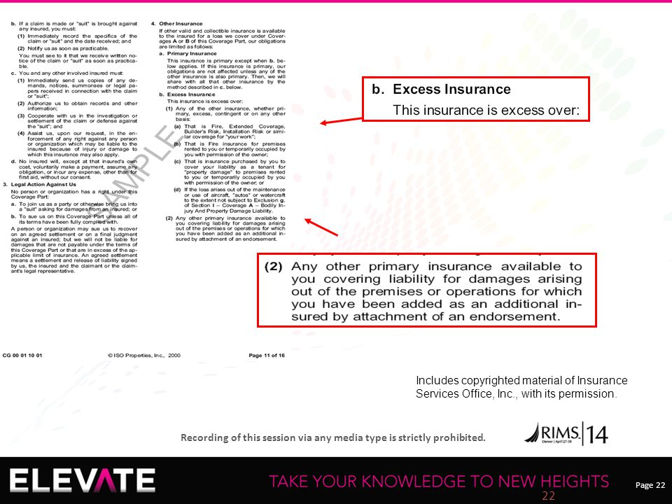 Page 22 Recording of this session via any media type is strictly prohibited. 22 Includes copyrighted material of Insurance Services Office, Inc., with