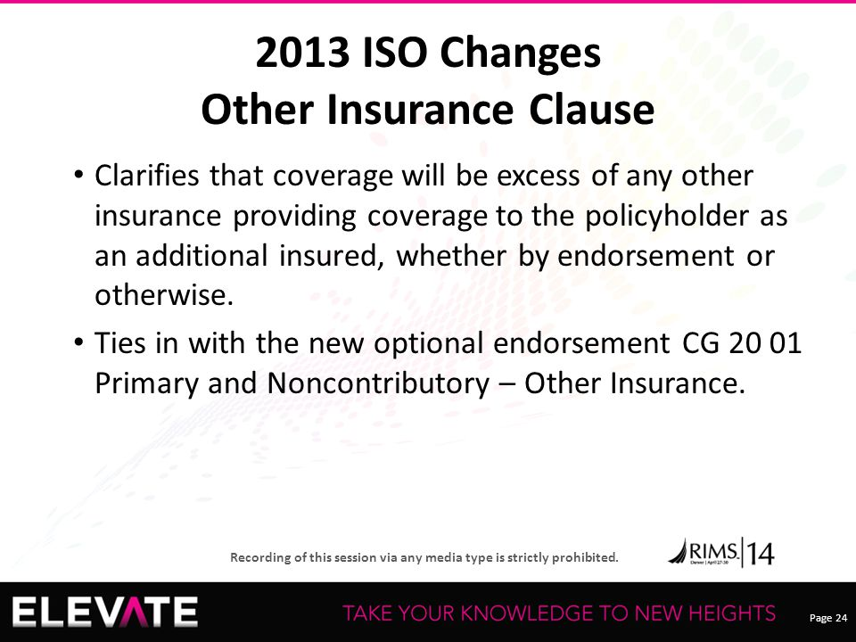 Page 24 Recording of this session via any media type is strictly prohibited. 2013 ISO Changes Other Insurance Clause Clarifies that coverage will be e