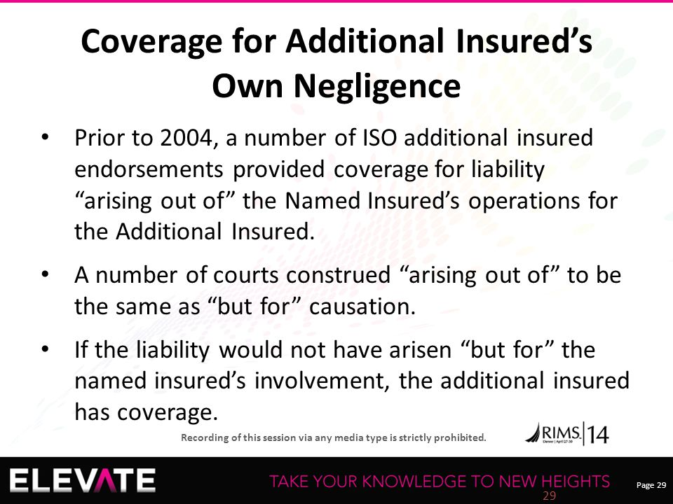 Page 29 Recording of this session via any media type is strictly prohibited. Coverage for Additional Insured's Own Negligence Prior to 2004, a number