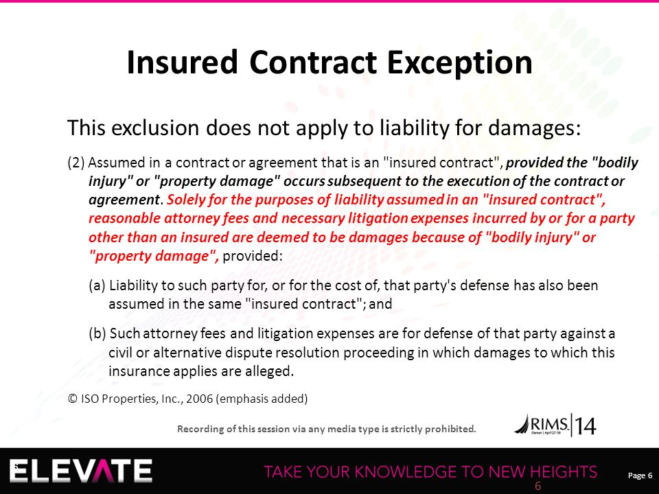 Page 6 Recording of this session via any media type is strictly prohibited. 6 Insured Contract Exception This exclusion does not apply to liability fo