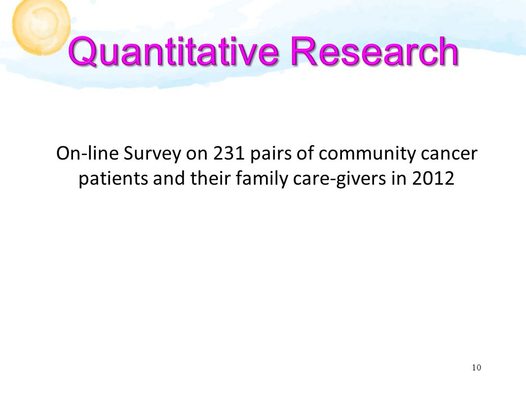 On-line Survey on 231 pairs of community cancer patients and their family care-givers in 2012 10
