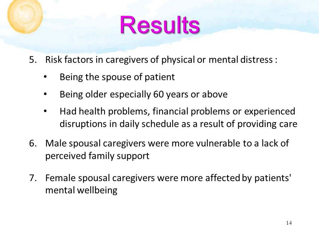 5.Risk factors in caregivers of physical or mental distress : Being the spouse of patient Being older especially 60 years or above Had health problems