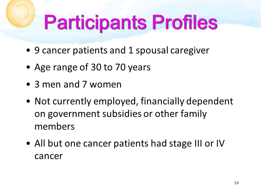 9 cancer patients and 1 spousal caregiver Age range of 30 to 70 years 3 men and 7 women Not currently employed, financially dependent on government subsidies or other family members All but one cancer patients had stage III or IV cancer 16