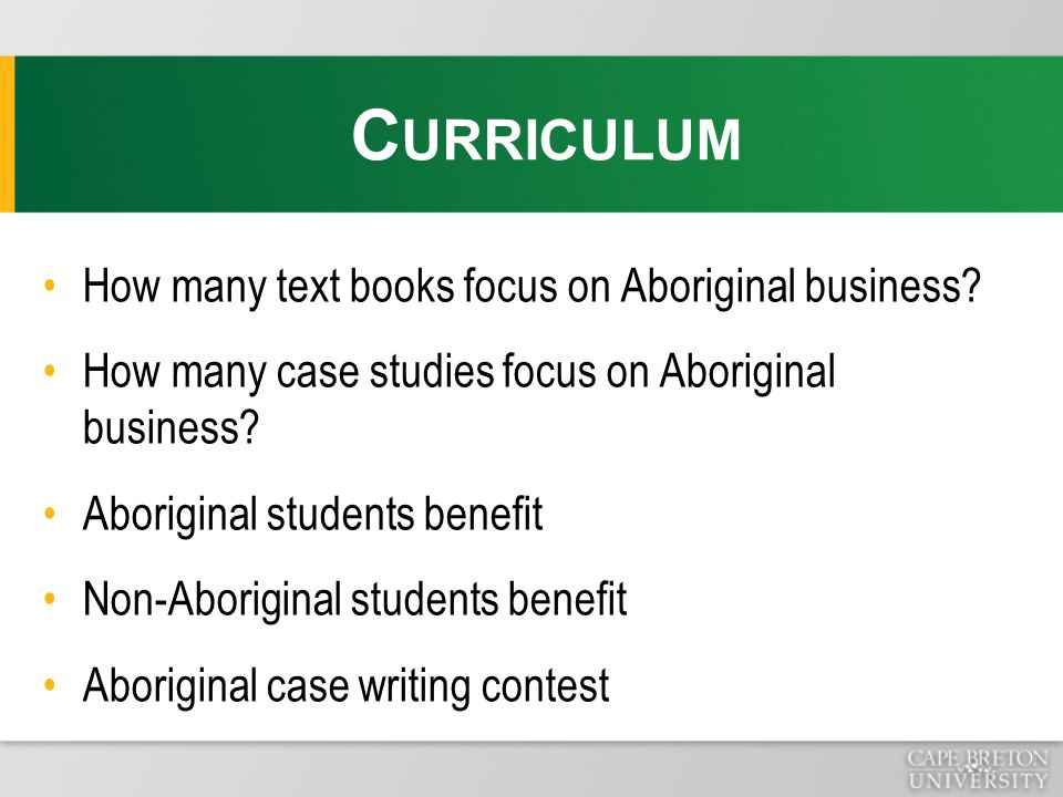 How many text books focus on Aboriginal business.