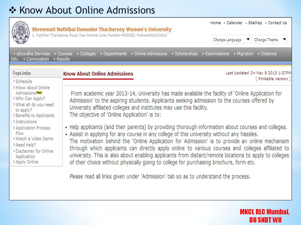 MKCL RLC Mumbai, DU SNDT WU  Know About Online Admissions
