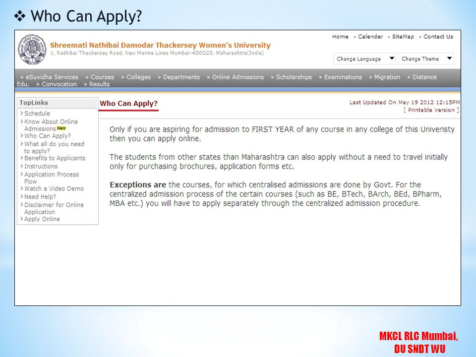 MKCL RLC Mumbai, DU SNDT WU  Who Can Apply