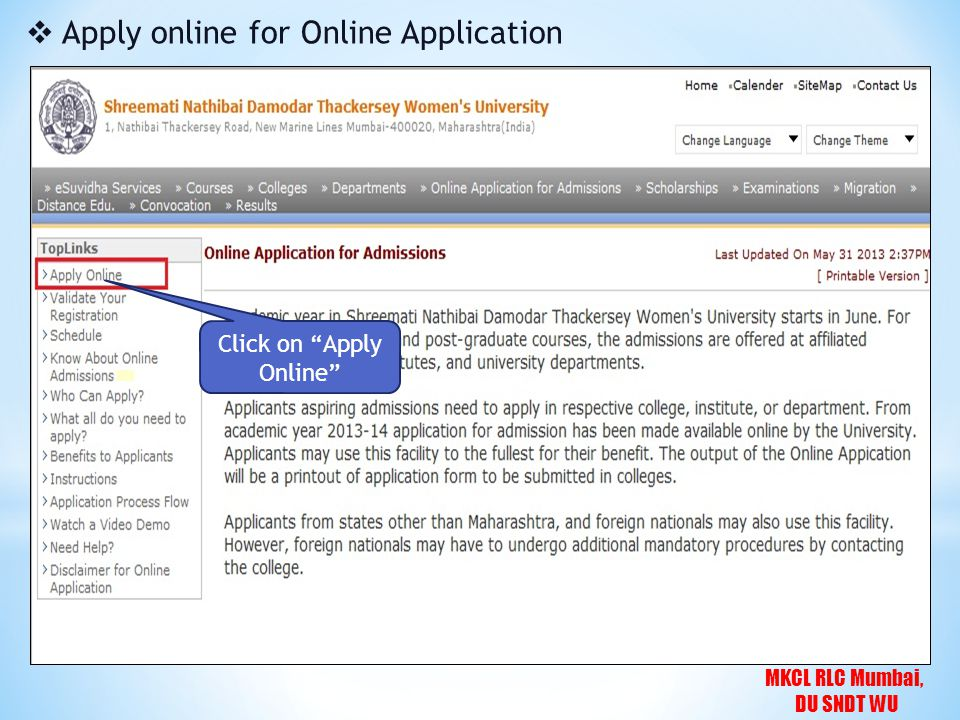 MKCL RLC Mumbai, DU SNDT WU  Agreement After Reading Carefully & understanding, click on Proceed