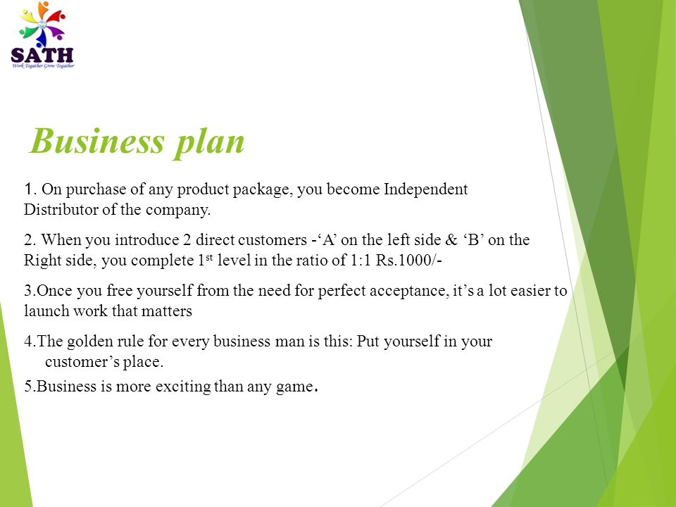 1.On purchase of any product package, you become Independent Distributor of the company.