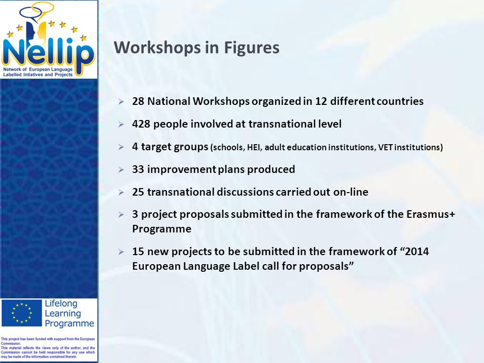 Workshops in Figures  28 National Workshops organized in 12 different countries  428 people involved at transnational level  4 target groups (schools, HEI, adult education institutions, VET institutions)  33 improvement plans produced  25 transnational discussions carried out on-line  3 project proposals submitted in the framework of the Erasmus+ Programme  15 new projects to be submitted in the framework of 2014 European Language Label call for proposals