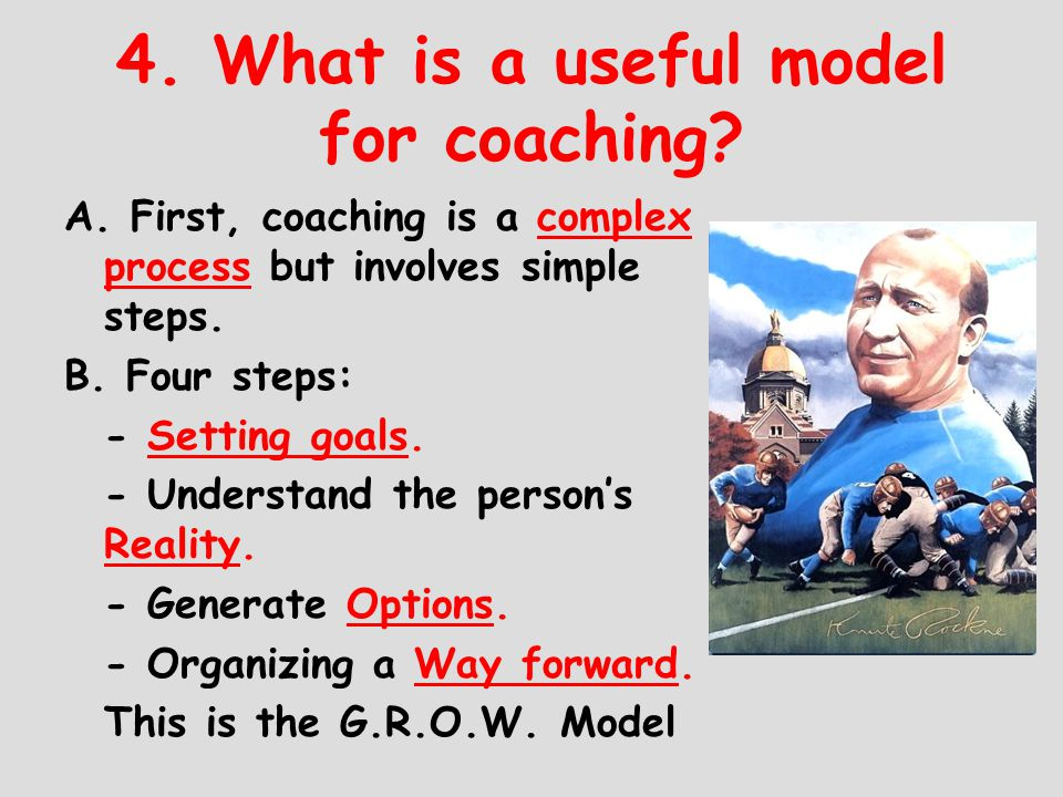 4. What is a useful model for coaching? A. First, coaching is a complex process but involves simple steps. B. Four steps: - Setting goals. - Understan