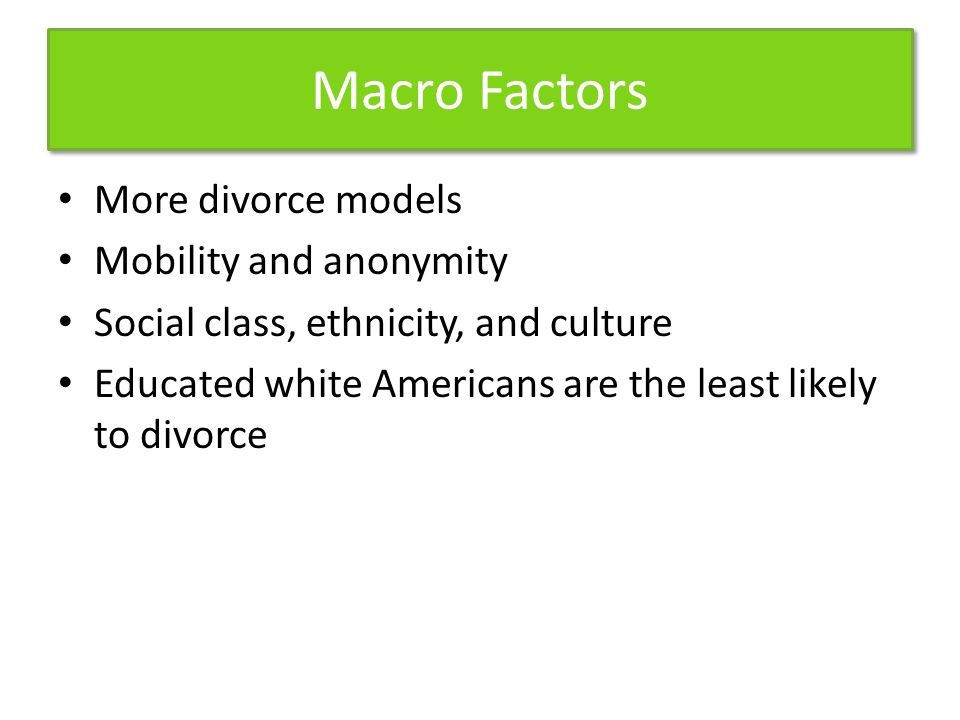 Macro Factors More divorce models Mobility and anonymity Social class, ethnicity, and culture Educated white Americans are the least likely to divorce