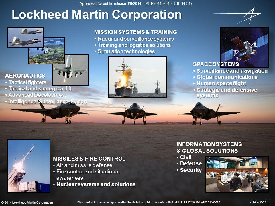 18 ©2014 Lockheed Martin Corporation Approved for public release 3/6/2014 – AER201402010 JSF 14-317 Distribution Statement A: Approved for Public Release, Distribution is unlimited.