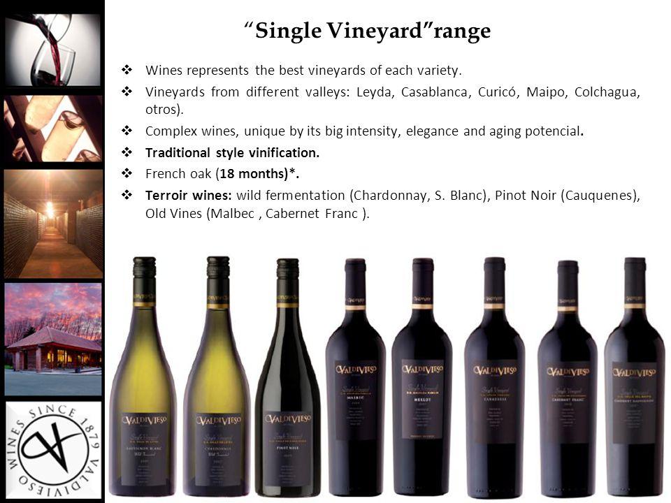 """ Single Vineyard""range  Wines represents the best vineyards of each variety.  Vineyards from different valleys: Leyda, Casablanca, Curicó, Maipo, C"