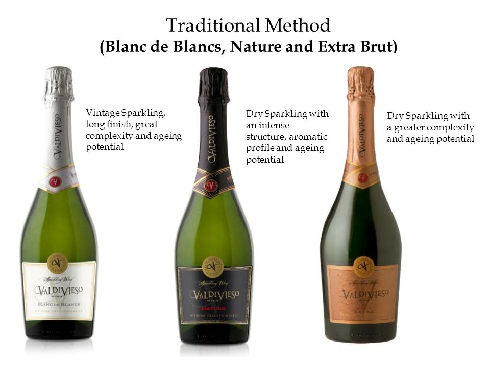 Traditional Method (Blanc de Blancs, Nature and Extra Brut) Dry Sparkling with a greater complexity and ageing potential Vintage Sparkling, long finis