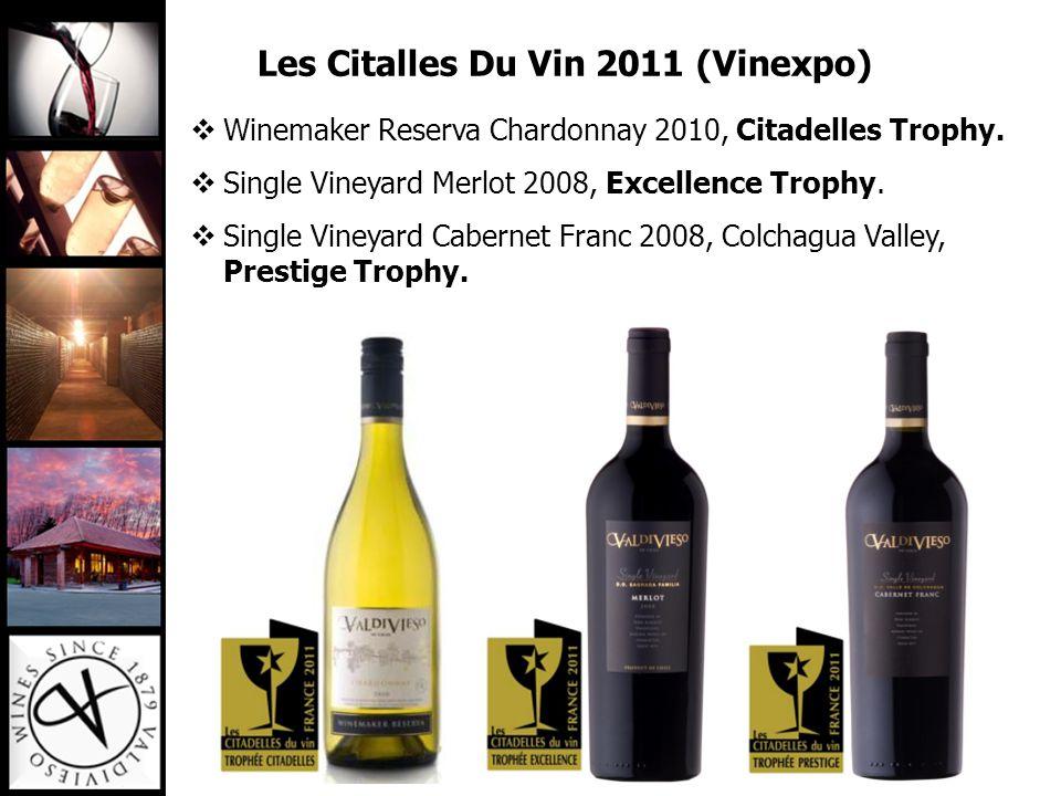 Winemaker Reserva Chardonnay 2010, Citadelles Trophy.  Single Vineyard Merlot 2008, Excellence Trophy.  Single Vineyard Cabernet Franc 2008, Colch
