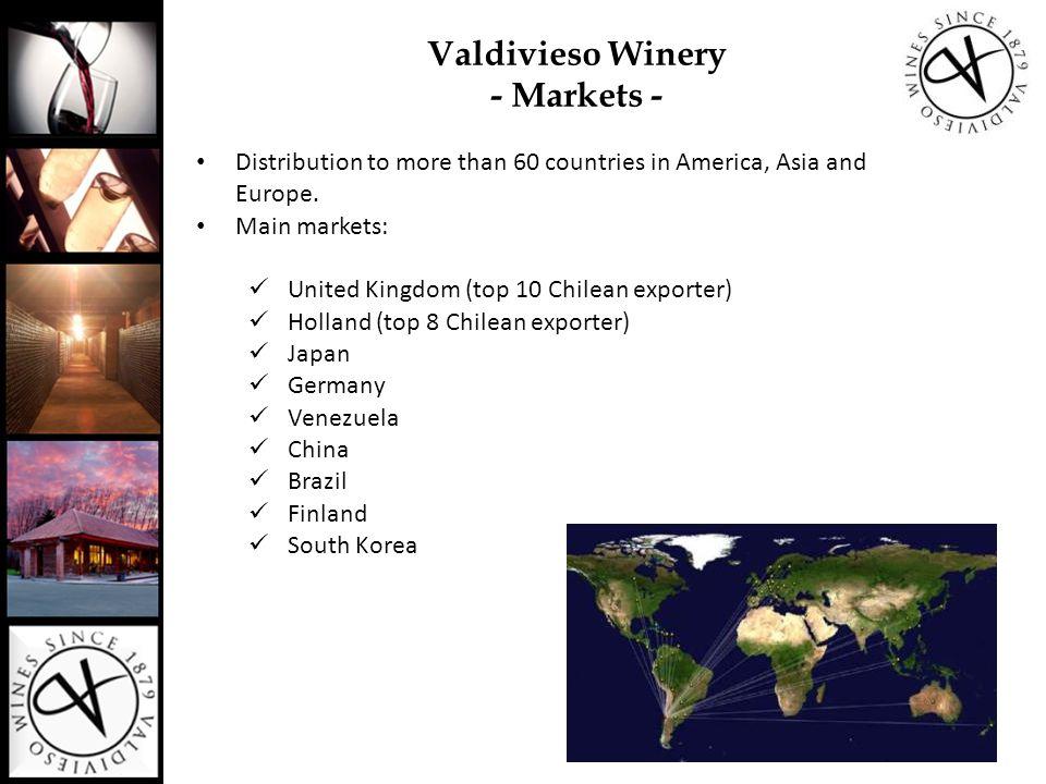 Valdivieso's facilities and Vineyards Santiago (Chile´s capital): Celia Solar Winery dedicated to Sparkling Wines production Lontúe (Curicó Valley): 235 kms south from Santiago: Lontué Winery dedicated to Still Wines prodcution Sagrada Familia (Curicó Valley): La Primavera Vineyard