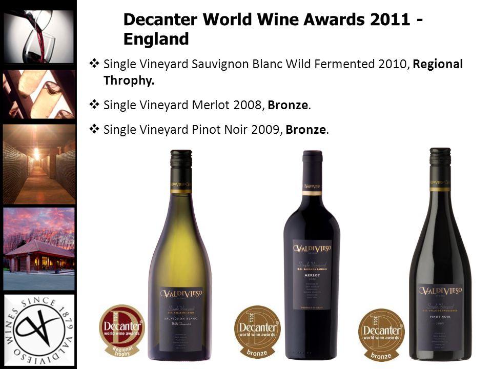 Decanter World Wine Awards 2011 - England  Single Vineyard Sauvignon Blanc Wild Fermented 2010, Regional Throphy.  Single Vineyard Merlot 2008, Bron