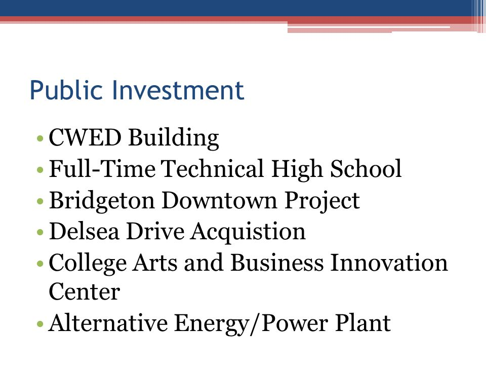 Public Investment CWED Building Full-Time Technical High School Bridgeton Downtown Project Delsea Drive Acquistion College Arts and Business Innovation Center Alternative Energy/Power Plant