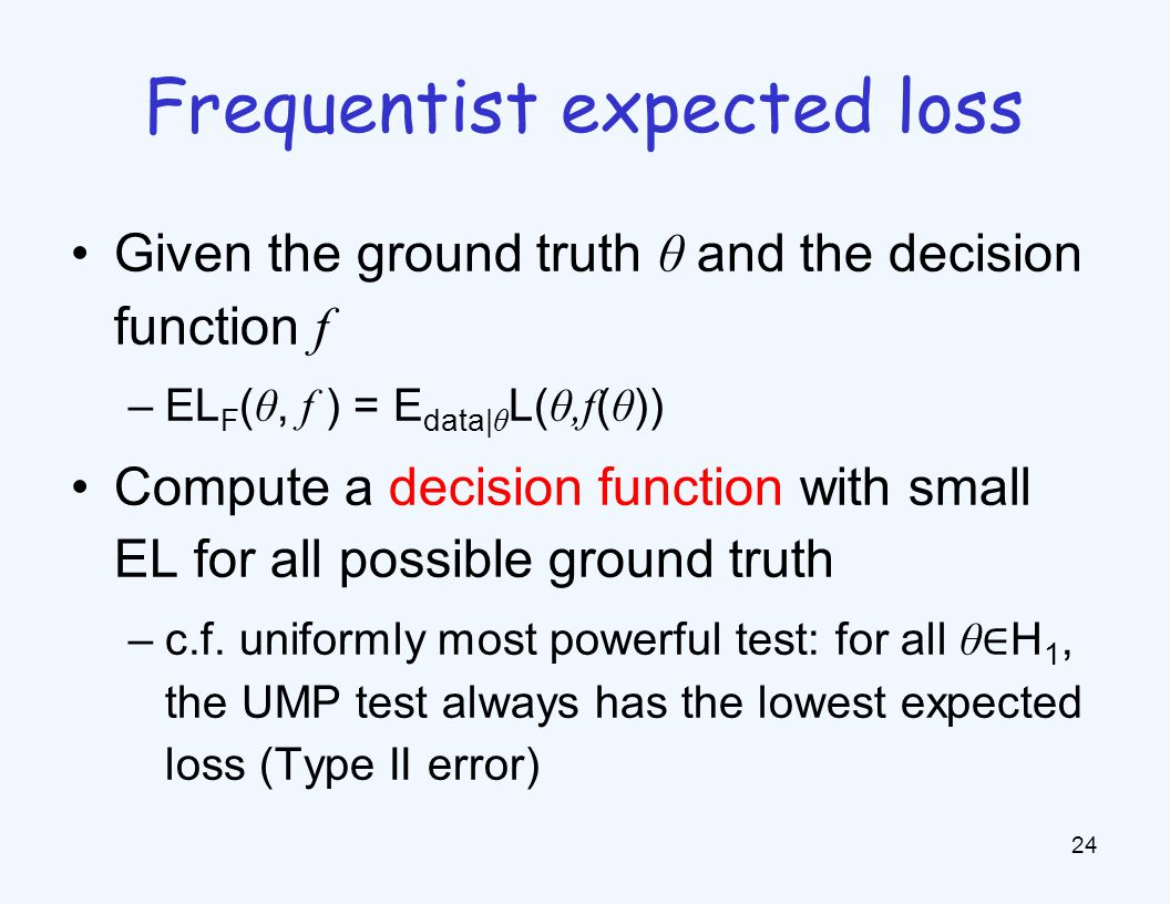 Given the ground truth θ and the decision function f –EL F ( θ, f ) = E data| θ L( θ,f ( θ )) Compute a decision function with small EL for all possible ground truth –c.f.