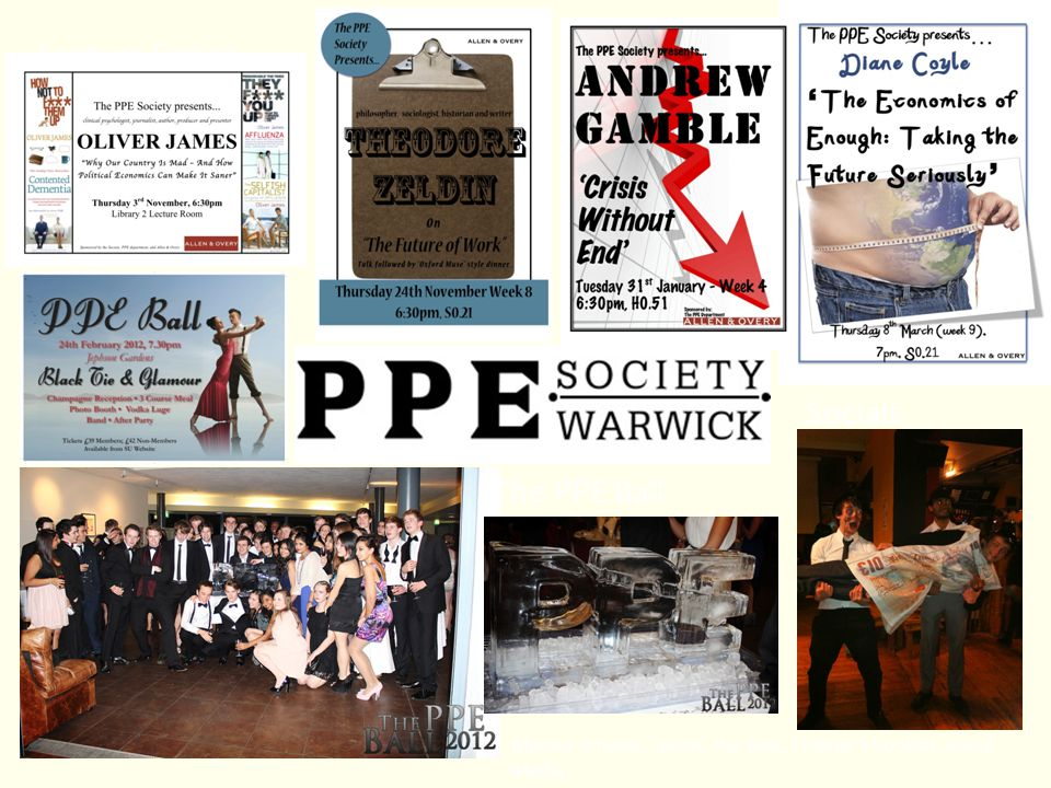 The PPE Ball Socials Lecture Series Mentor scheme, sports, the Exec, Fresher's booklet, Social Media