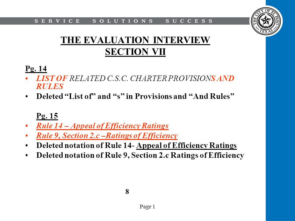 Page 1 THE EVALUATION INTERVIEW SECTION VII Pg. 14 LIST OF RELATED C.S.C.