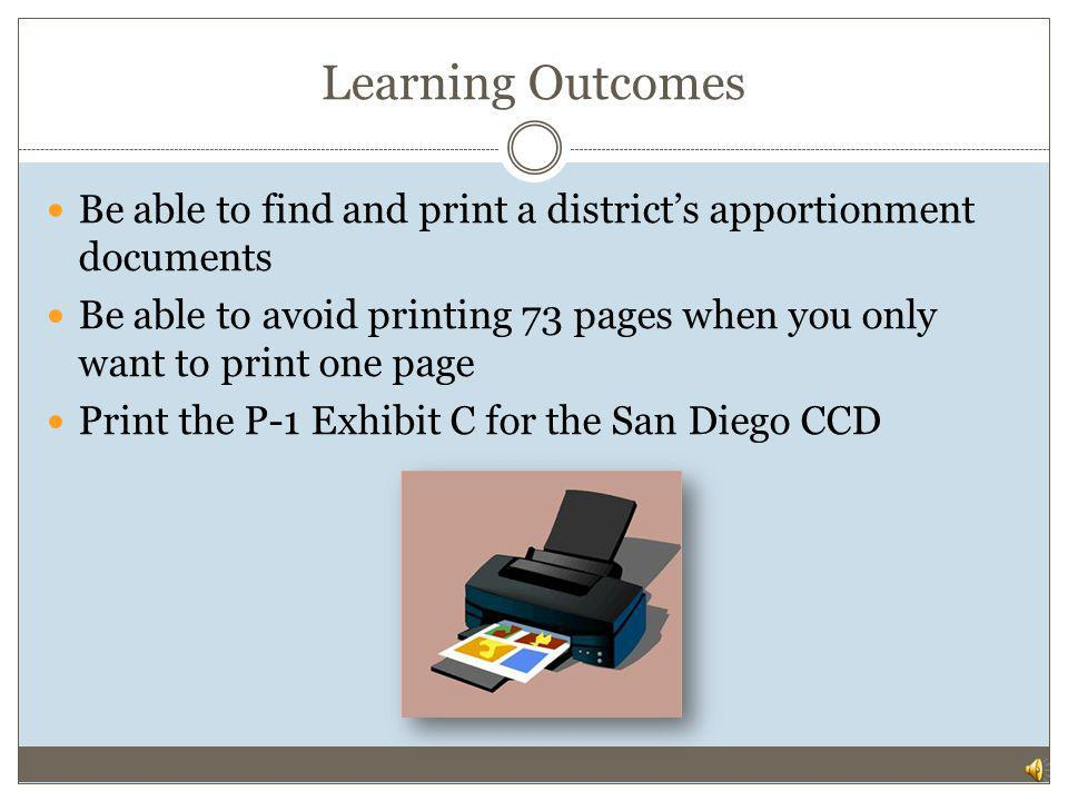 FINDING APPORTIONMENT DOCUMENTS AT CCCCO.EDU Apportionment Documents