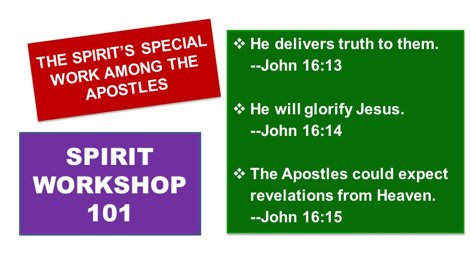  He delivers truth to them. --John 16:13  He will glorify Jesus.
