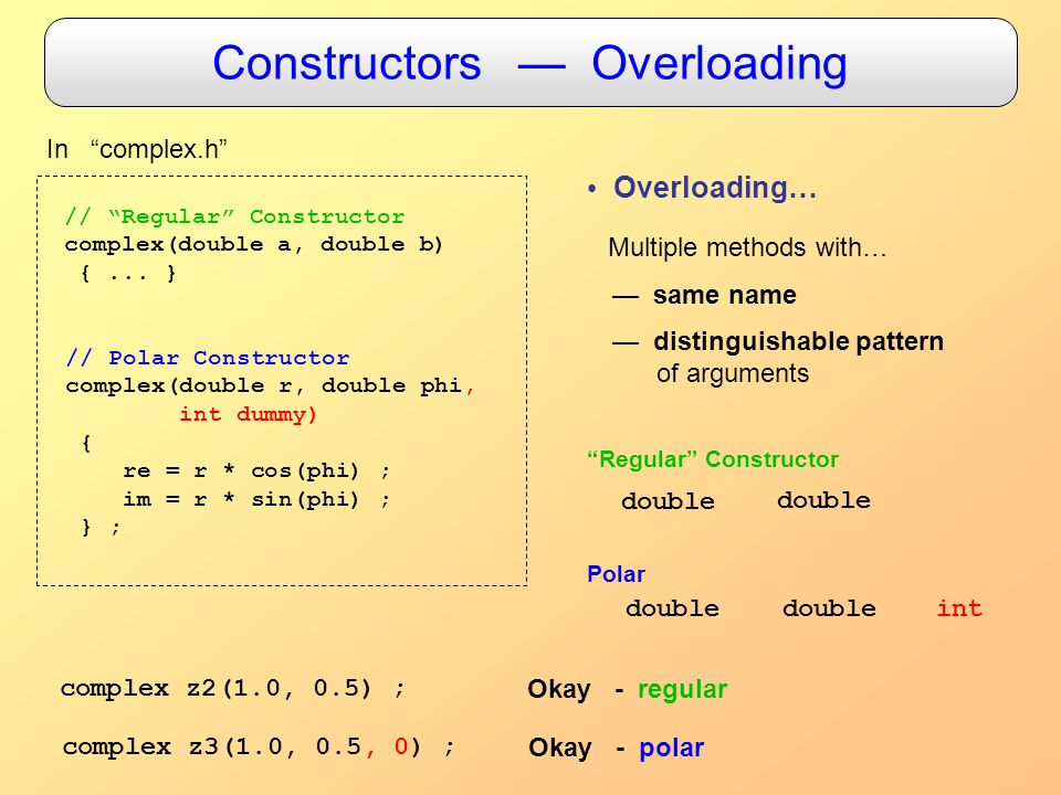 Constructors — Overloading In complex.h // Regular Constructor complex(double a, double b) {...