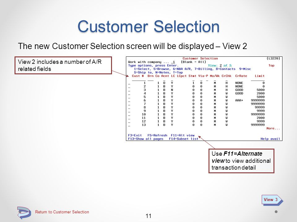 Return to Customer QSEARCH Summary Customer Selection The new Customer Selection screen will be displayed – View 1 To go to the standard DMAS customer inquiry function and screens, use the 1=Select option on the desired customer line (see Standard DMAS Customer Inquiry) Standard DMAS Customer Inquiry To view one of the new customer browse screens, use one of the options 5 through 9, then page through the available pages (see Customer Inquiry Browse) Customer Inquiry Browse 10 View 2 Use F11=Alternate view to view additional transaction detail Function key F14=subset list if part of the new customer search function (see Searching for a Customer)Searching for a Customer For more information about using the selection line, please refer to Searching for a Customer Searching for a Customer