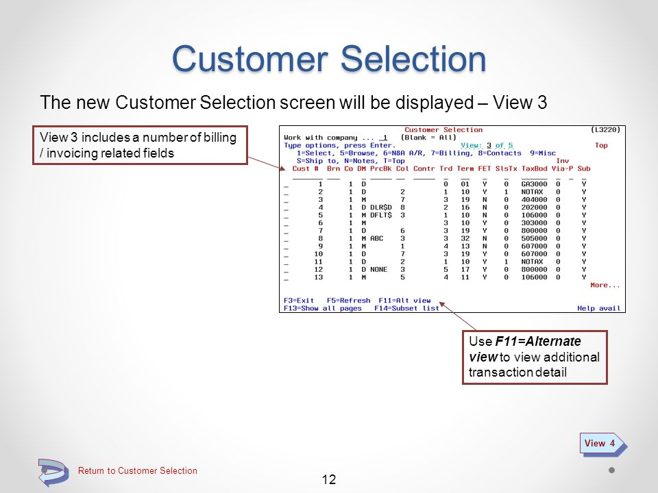 Return to Customer Selection Customer Selection The new Customer Selection screen will be displayed – View 2 View 2 includes a number of A/R related fields 11 View 3 Use F11=Alternate view to view additional transaction detail