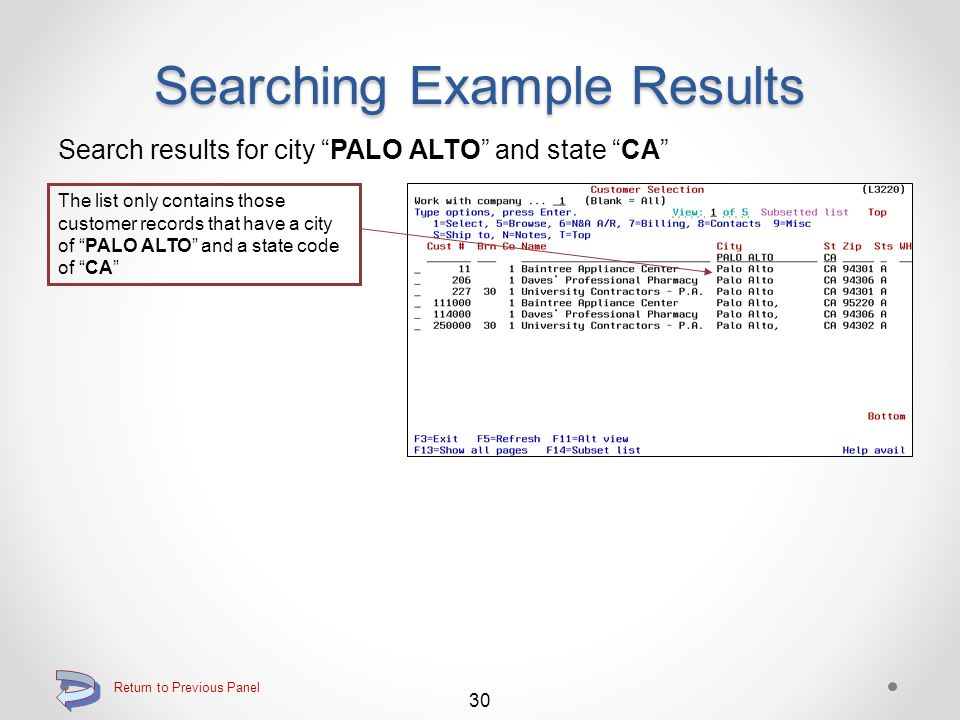 Searching Example Results Search results for contains APPL The list only contains those customer records that contain the character string APPL anywhere within any one of the name, address line 1 and/or address line 2 fields 29