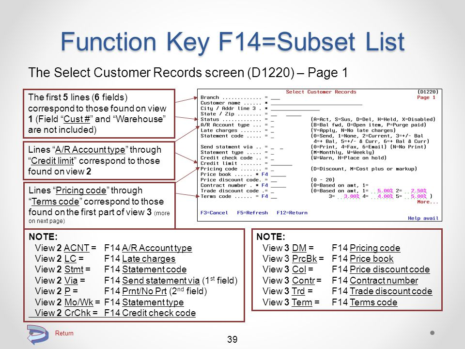 Return to Searching Function Key F14=Subset List The Select Customer Records screen (D1220) – Page 2 38 Lines Federal excise tax through Substitute code correspond to those found on the second part of view 3 Lines SlsRep through Emails correspond to those found on view 4 Lines Industry code through Accepts Pallet correspond to those found on view 5 NOTE: View 3 FET = F14 Federal excise tax View 3 Inv Via = F14 Send invoice via (1 st field) View 3 Inv P = F14 Prnt/No Prt (2 nd field) View 3 Sub = F14 Substitute code NOTE: View 5 IndC = F14 Industry code View 5 Pfx = F14 Group prefix View 5 Typ = F14 Customer type View 5 856 = F14 Advance ship 856 View 5 DTL = F14 Carton detail packing View 5 UCC = F14 UCC 128 label print View 5 PAL = F14 Accepts Pallet