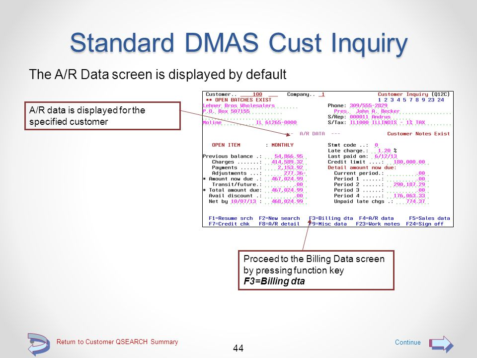 Return to Customer QSEARCH Summary Standard DMAS Cust Inquiry OR use option 1=Select to utilize the legacy customer inquiry function Continue 43 Key the 1=Select option to utilize the legacy customer inquiry function and display the Customer Inquiry screen (Q12C)