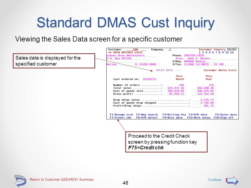 Return to Customer QSEARCH Summary Standard DMAS Cust Inquiry Viewing the Billing Data screen for a specific customer 45 Continue Proceed to the Sales Data screen by pressing function key F5=Sales data Billing data is displayed for the specified customer