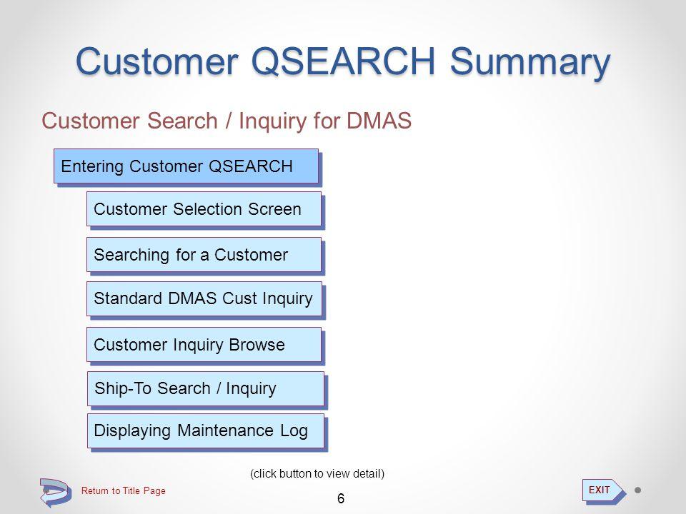 Customer Search / Inquiry Customer Inquiry...