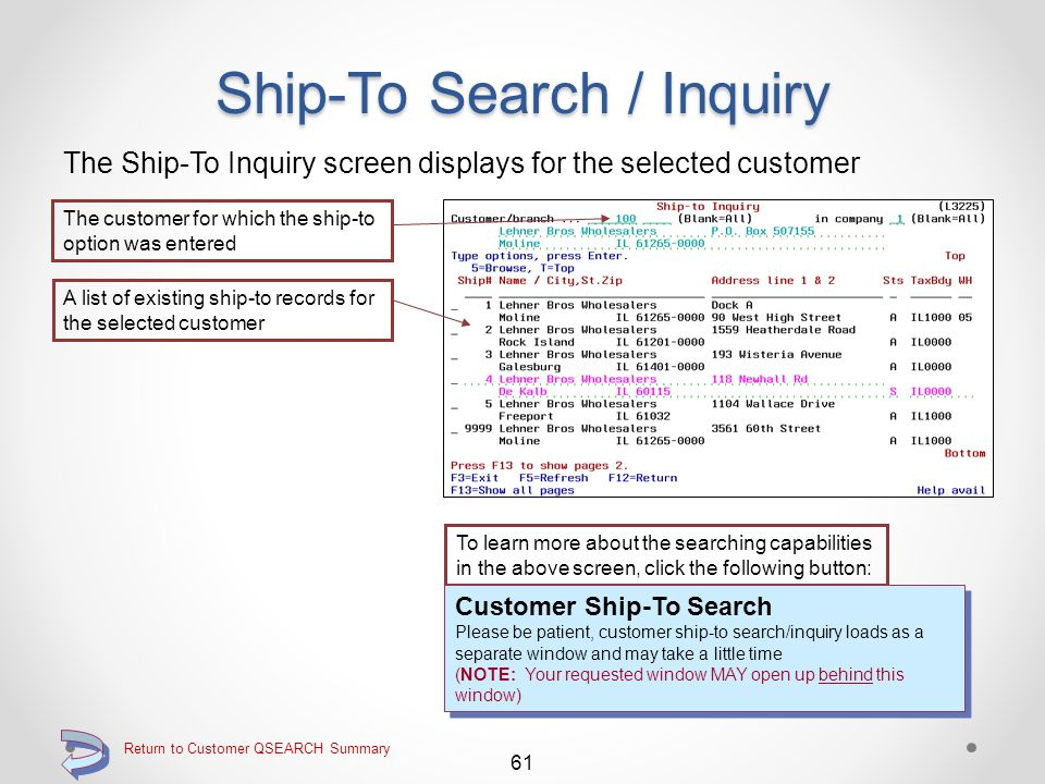 Return to Customer QSEARCH Summary Ship-To Search / Inquiry Use option S=Ship to, to search for and or inquire into customer ship- to's Use the S=Ship to option to search for and/or inquire into customer ship-to records 60 The Ship-To Inquiry screen (L3225) will then be displayed for the selected customer (see next panel) Continue
