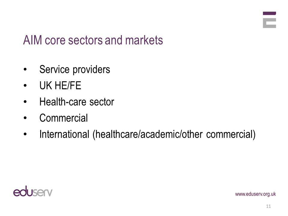 AIM core sectors and markets Service providers UK HE/FE Health-care sector Commercial International (healthcare/academic/other commercial) 11