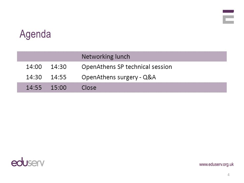Networking lunch 14:0014:30OpenAthens SP technical session 14:3014:55OpenAthens surgery - Q&A 14:5515:00Close Agenda 4